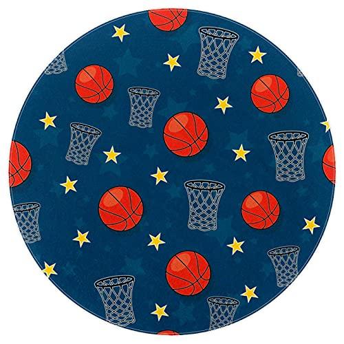 nakw88 Alfombra redonda súper suave para el suelo interior, lujosa, para sala de estar, dormitorio, alfombra de juego impresa, 120 cm, estrellas de baloncesto