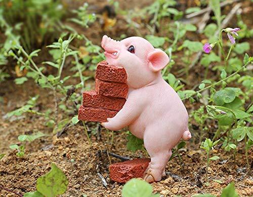 starbluegarden Amusing Mini Pig Moving Bricks Statue Figurine Ornament Fairy Garden Decor for Bookshelves Flowerpots