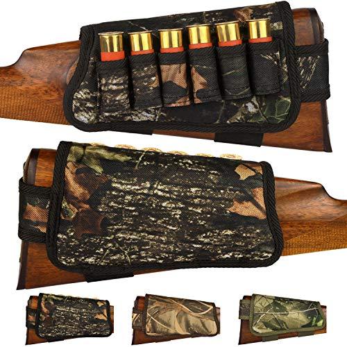BronzeDog Nylon Shotgun Shell Holder Adjustable Buttstock Pouch Padded Rifle Cheek Rest Hunting Accessories 12 16 Gauge Right Left Handed (Black Oak Camo Left)