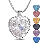 INFUSEU Double Heart Aroma Therapy Essential Oil Diffuser Anxiety Necklace Purple Cubic Zirconia Locket Pendant Jewelry, 7 Pcs Lava Rock Stones, 24 Inch Snake Chain