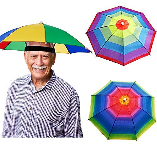 3 Stücke Regenbogen Regenschirm Mützen Angeln Cap Sonnenschirm Stirnband