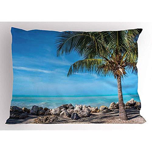 4 Stück 18X18 Zoll Florida Beach Pillow Sham,Mit Blick Auf Die Küste In Key West Stones Und Pebbles,Home Decor Standardgröße Gedruckt Kissenbezug