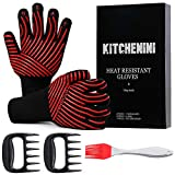 KITCHENINI BBQ Gloves, 2 Claws, Brush Set - 1472°F Ultra Heat Resistant Gloves for Grilling Baking...