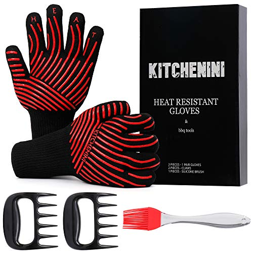 KITCHENINI BBQ Gloves, 2 Claws, Brush Set - 1472°F Ultra Heat Resistant Gloves for Grilling Baking - EN407 Certified Oven Mitts - Safe Grabs Grill Gloves - 1 Pair Cooking Gloves