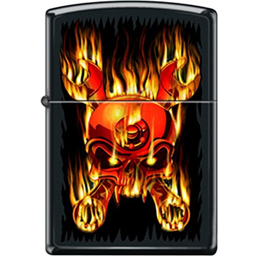 Zippo Fiery Flaming Skull and Wrenches Black Matte Lighter