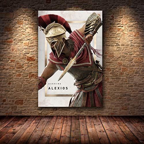 Sin Marco Cuadros 40X50Cm - Assassin'S Creed Odyssey Origen Poster Decoración Pintura sobre Lienzo De Alta Definición Lienzo Pintura Arte Carteles E Impresiones,Wkh-387-1