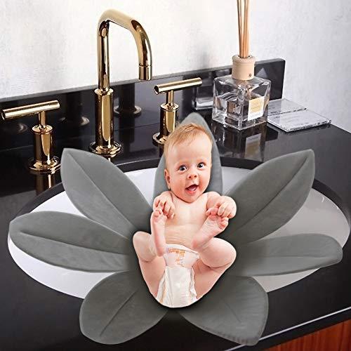 Jitejoe Creative - Alfombrilla antideslizante para baño de bebé, diseño de pétalos, Gris