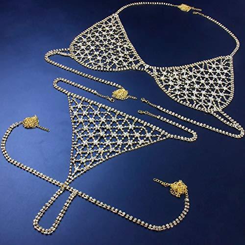 AMY-XCQ Body Chain, Sexy Mesh Rhinestone Bikini Set, Ladies Bra, Rhinestone Jewelry, Beach Club,Gold