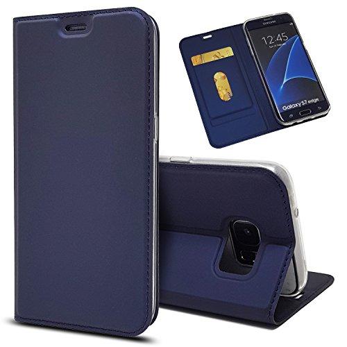 Copmob Funda Samsung Galaxy S7 Edge,Ultradelgado Flip Libro Funda de Cuero PU,[Cierre Magnético][1 Ranura][Función de Soporte],Carcasa Case para Samsung Galaxy S7 Edge - Azul