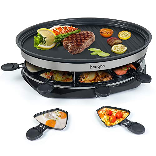 Raclette Grill, Griglia per Raclette con Calore Regolabile 8 Mini Padelle per 8 Persone 1500W, Nero