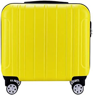 Trolley Case 18 inch Carry On Luggage Lightweight ABS 4 Wheel Spinner Suitcase Hard Cabin Travel Case Hand Luggage for British Airways Ryanair Travel Luggage Carry-Ons (Color : Yellow)
