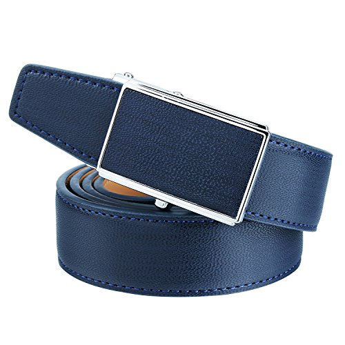 Men Ratchet Leather Belt 1 1/8'' Wide Automatic Buckle Dress Belt - Best Gifts for Young Men(Blue)