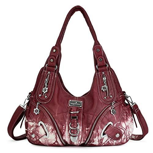 Handbag Hobo Women Bag Roomy Multiple Pockets Street ladies' Shoulder Bag Fashion PU Tote Satchel Bag for Women (11282Z#4RED)