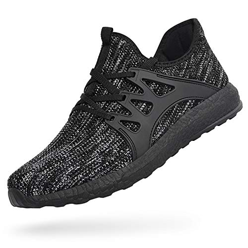 Feetmat Womens Sneakers Ultra Lightweight Breathable Mesh Athletic Walking Running Shoes Grey/Black 6