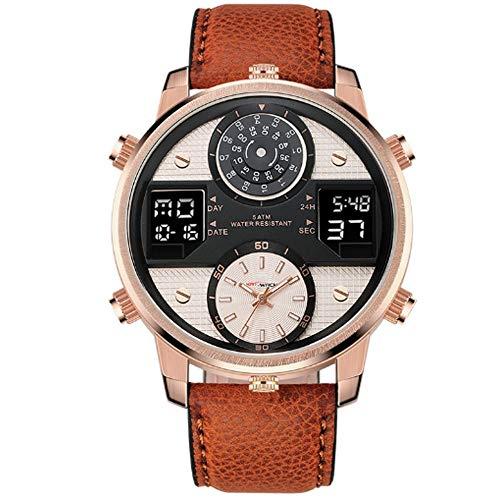 REIUYTHO Relojes Relojes Digitales for los Hombres, Correa de Cuero clásico Reloj Deportivo Digital de Pantalla a Prueba de Agua Casual Cronómetro Luminoso de Alarma del Reloj Simple Ejército