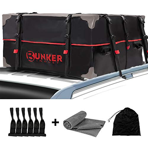 BUNKER INDUST Car Rooftop Cargo Carrier Bag, 20 Cubic Ft Heavy Duty RoofBag Waterproof Luggage Car Top Carrier with Anti-Slip Mat and Door Hook for All Vehicles with/Without Rack Crossbars