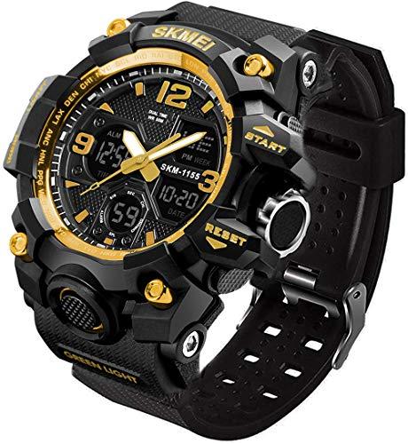 LYMFHCH Reloj deportivo analógico para hombre, LED militar, digital, cronómetro electrónico, grande, esfera doble, tiempo al aire libre, ejército, reloj de pulsera táctico, digital, Oro