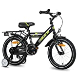 Hiland - Bicicleta infantil de 16 pulgadas para niños de 4 años con asiento trasero/portaequipajes, freno de mano y freno de contrapedal, color blanco y negro