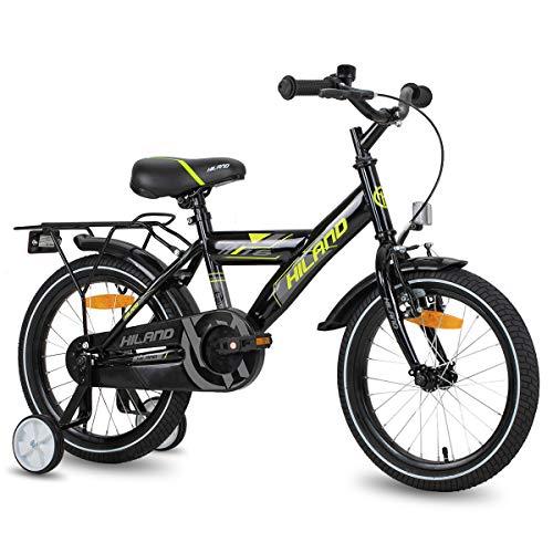 Hiland Bicicleta infantil para niños y niñas, 5 años de edad, con soporte