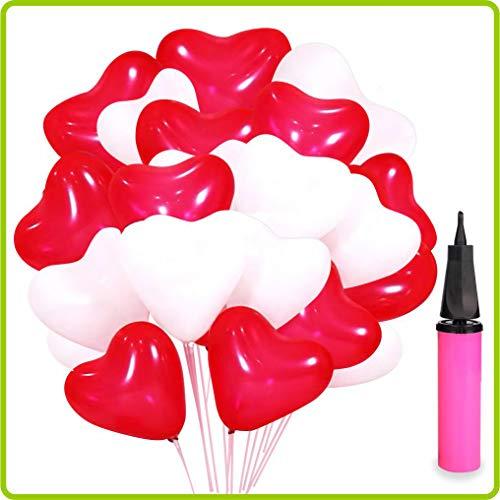 Luftballons Hochzeit, 100 Herzluftballons Hochzeit - Luftballons Herz ROT WEIßE, Herzballons Für Helium, Luftballons mit Herzen-mit Pumpe, Geburtstag Dekoration Party Zubehör