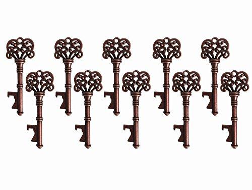 20PCS Skelett Schlüssel, Hochzeit für Gäste Partyzubehör Gastgeschenken Rustikal Vintage-Schlüssel Flaschenöffner, antik Partyzubehör Rustikal Dekoration A4291-Copper