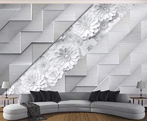 Papel Pintado 3D Flores Blancas De Origami En Relieve Fotomurales Decorativos Pared 3D