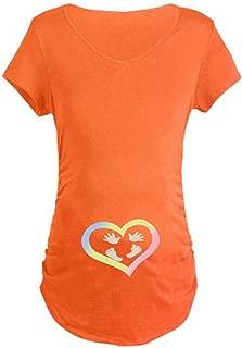 Siswong Enceinte T-Shirt Femme Top Maternity Impression Zipper B/éb/é Dr/ôle Mignon Novelty Haut Manches Courtes Blouse Jumeaux Bump Humor Col Rond Casual
