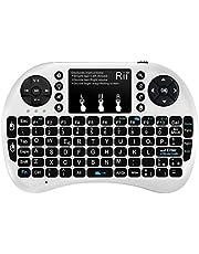 Rii Mini i8+ - Mini teclado inalámbrico (disposición de teclas italiana), retroiluminado, con panel táctil para smart TV, mini PC, HTPC, consola y ordenador. i8+ Wireless (BIANCO)