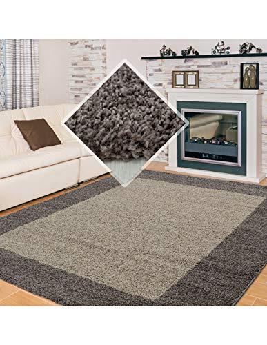 Carpet 1001 Alfombra Pelo Largo, Pelo Largo, Pelo Largo, Pelo Largo para salón, Altura de Pelo 3 cm, Mocca Gris Pardo - Gris Pardo, 200x290 cm