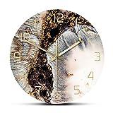 gongyu Reloj de Pared con Estampado de Textura Rica de Moda mágica con Brillo de mármol Reloj de Pared de Lujo Minimalista en Polvo de Coral y Oro