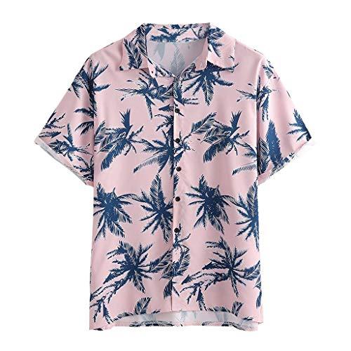 Yowablo Chemise Hommes Casual Hawaienne T-Shirt + Shorts Homme Été Hawaï Manches Courtes Boutonné Imprimé Tropical (3XL,Rose)