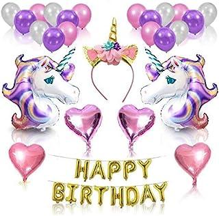 Unicorn Party Supplies and Decorations Set - With Glitter Unicorn Headband Unicorn Balloons Gold Happy Birthday Banner Lat...