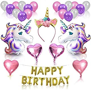 Other Unicorn Party Supplies And Decorations Set - With Glitter Unicorn Headband Unicorn Balloons Gold Happy Birthday Banner Latex & Foil Balloons 26 Piece Unicorn Theme Decor Pack