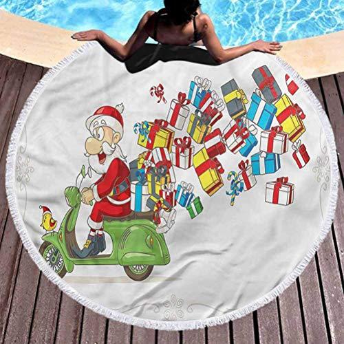 Toalla de Playa Redonda Papá Noel Toalla de Playa Multiusos Paquetes de Scooter de Exceso de Velocidad Uso para niños, Mujeres, Hombres, niños y niñas (diámetro 59 ')