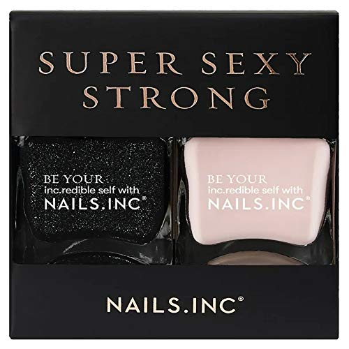 Nails Inc Super Sexy Strong Nagellack Duo Black Glitter 14ml