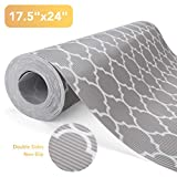Glotoch Shelf Liners for Kitchen Cabinets-Non Adhesive Cabinet and Drawer Liner, Roll, Double Sides Non-Slip,17.5' x 24 FT, Durable and Strong, Grip Liners for Drawers,Shelves, Kitchen Quatrefoil Grey
