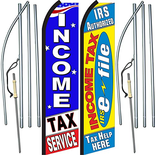2 Pack of Income Tax Service/E-File Swooper Feather Flag Sets - Includes 2 Swooper Feather Flags, 2 Flagpoles, and 2 Ground Spikes