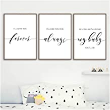 WSTDSM I'll Love You Forever-Canvas Posters-Nursery Wall Art Print Painting-Pictures for Baby Girl Boy Room Decoration 60x80cmx3 (no Frame)