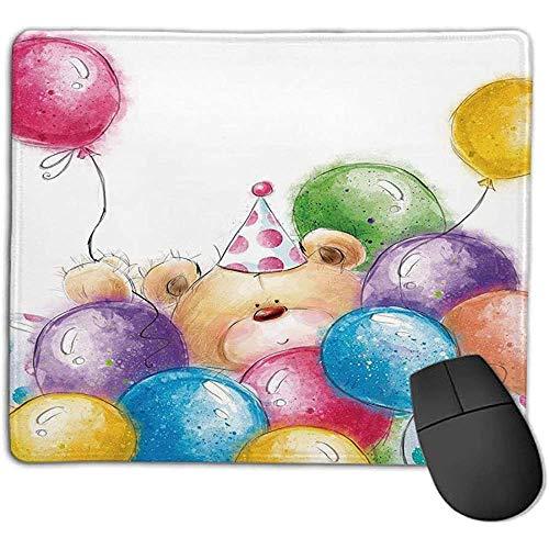 Muismat verjaardagsdecoratie voor kinderen handgetekende kinderteddybeer en kleurrijke ballonnen ol kantoor