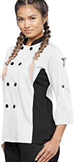 Women's 3/4 Sleeve Chef Coat with Mesh Side Panels (XS-3X, 4 Colors)