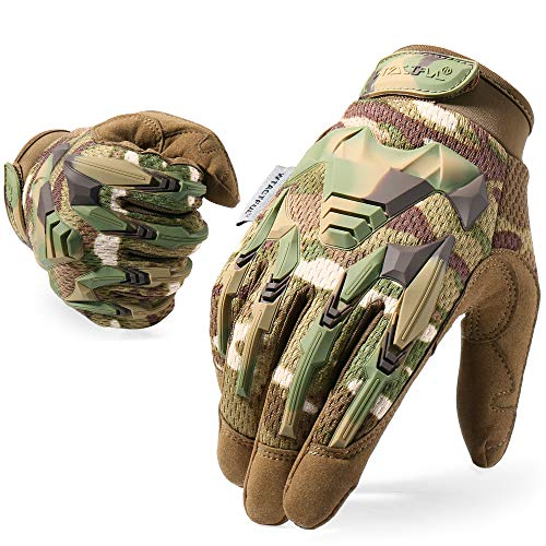 WTACTFUL Rubber Guard Full Finger Tactical Gloves for Airsoft Paintball Hunting Hiking Military Bicycle Army Cycling Motorbike Motorcycle Riding Driving Climbing Work Gear CP Large