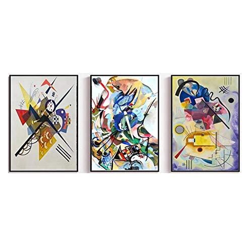 LTXMZ Wassily Kandinsky BerüHmte Kunstdruck Leinwandbilder Vintage Poster Print Abstrakte Wand Bilder Bild FüR Wohnzimmer Schlafzimmer Dekor 40x60cmx3 Kein Rahmen