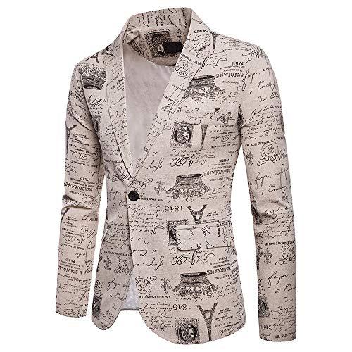 FRAUIT Herren Business Anzugjacke EIN Knopf Sakko Persönlichkeit Drucken Fit Anzug Blazer Mantel Jacke Tops