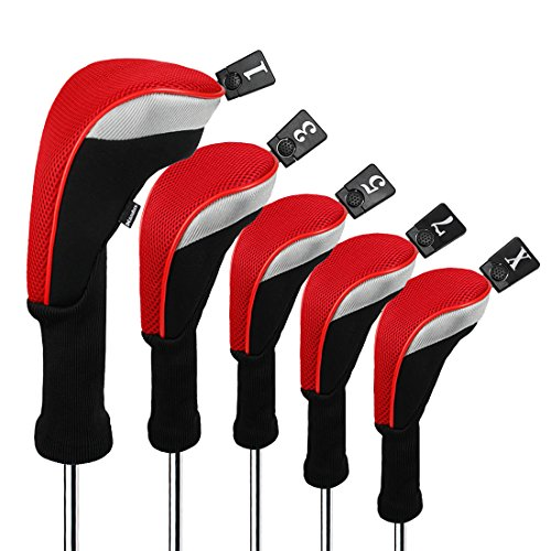 Andux Golf 460cc Driver Wood Head Covers with Long Neck and Interchangeable No. Tags Pack of 5 (Red, MT/MG34)
