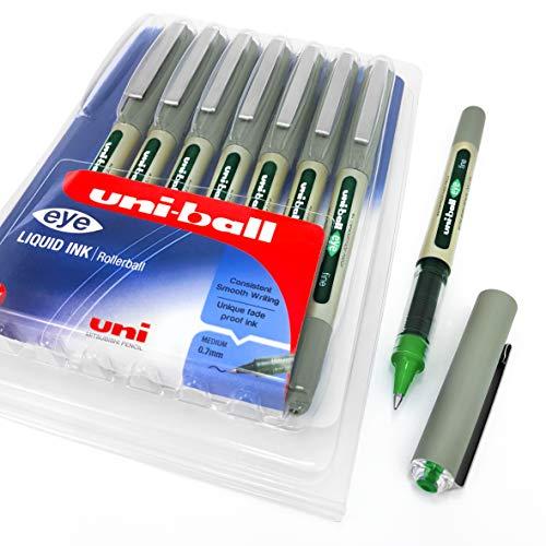 Uni-Ball Eye UB-157 - Confezione da 8 penne a sfera con punta da 0,7 mm, colore dell'inchiostro: verde