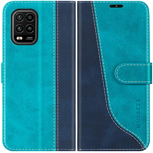 Mulbess Handyhülle für Xiaomi Mi 10 Lite Hülle, Handy Xiaomi Mi 10 Lite Hülle, Leder Flip Etui Handytasche Schutzhülle für Xiaomi Mi 10 Lite 5G Hülle, Mint Blau