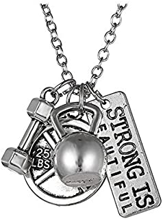 """Strong is Beautiful"" Pendant Necklace - Best Motivational Gift - Weight Plate Barbell Dumbbell Pendants"