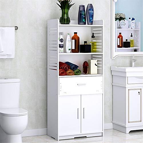 ZzheHou Estante De Esquina De Baño Cuarto de baño Gabinete de Almacenamiento del Estante del Piso de múltiples Capas Organizador higiénico Impermeables Mueble con cajón Blanca Apto para Baño
