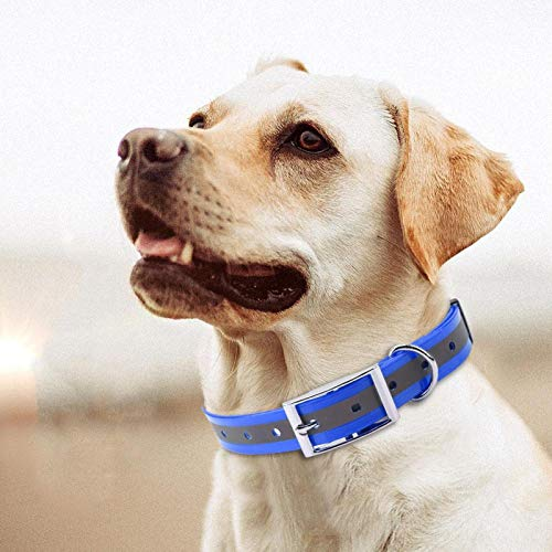 Nannigr Collar Reflectante para Perros, Collar Impermeable Ajustable con función Reflectante Collar de Nailon Reflectante para Perros para Perros pequeños, medianos y Grandes(Azul)