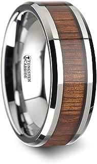 KONA Koa Wood Inlaid Tungsten Carbide Ring with Bevels - 8mm